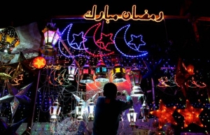 Lanterns, stars and crescents greet people on the night of the Ramadan festival