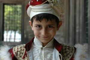Turkish boy in circumcision dress at Selimiya Mosque, Instanbul