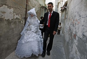 Newly married couple in Gaza, Palestine