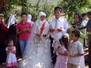Traditional Turkish wedding.Bride and groom offer a prayer