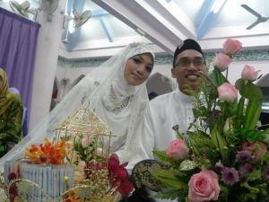 Newly married Indonesian couple