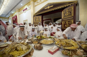 Saudi Arabian men at a feast