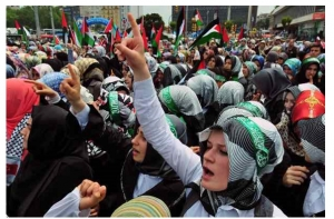 Turkish women in protest march against Israel