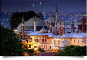 Topkapi Palace brightly lit at night
