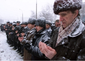 Russian Muslim men at prayer, Moscow