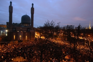 Muslims pray in the night at St.Petersburg Mosque