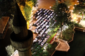 Turkish Muslims at night prayer