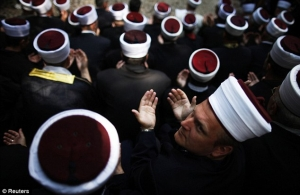 Bosnian Muslims at prayer
