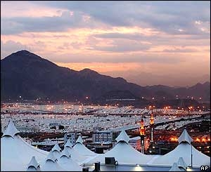 Tents of Mina in the evening